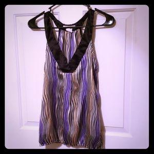Sleeveless Purple and Black Pattern Top